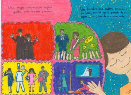primer lugar de la región América Latina del Concurso Internacional de Dibujo sobre Equidad de Género 2008